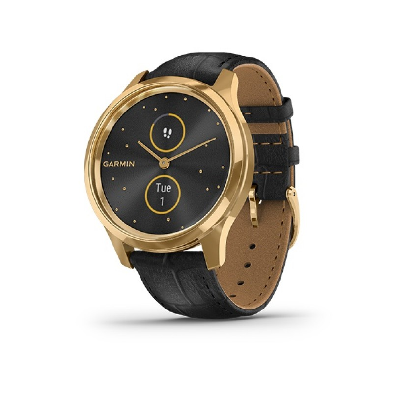 Garmin Vivomove Luxe Smart Watch Gold-Black Leather