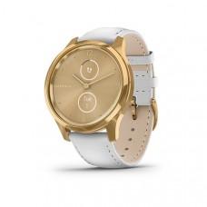 Garmin Vivomove Luxe Smart Watch Gold-White Leather