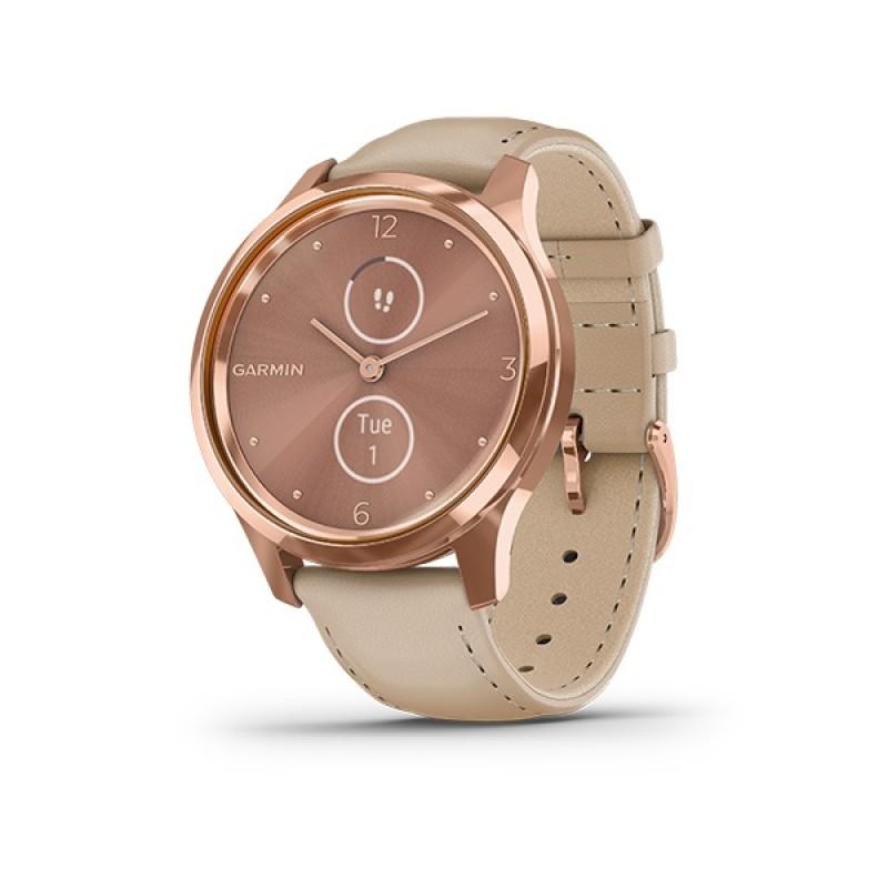 Garmin Vivomove Luxe Smart Watch Rose Gold-Light Sand Leather