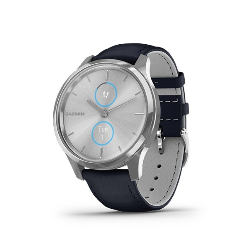 Garmin Vivomove Luxe Smart Watch Silver-Navy Leather