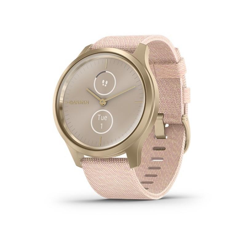 Garmin Vivomove Style Smart Watch Light Gold With Blush Pink Nylon