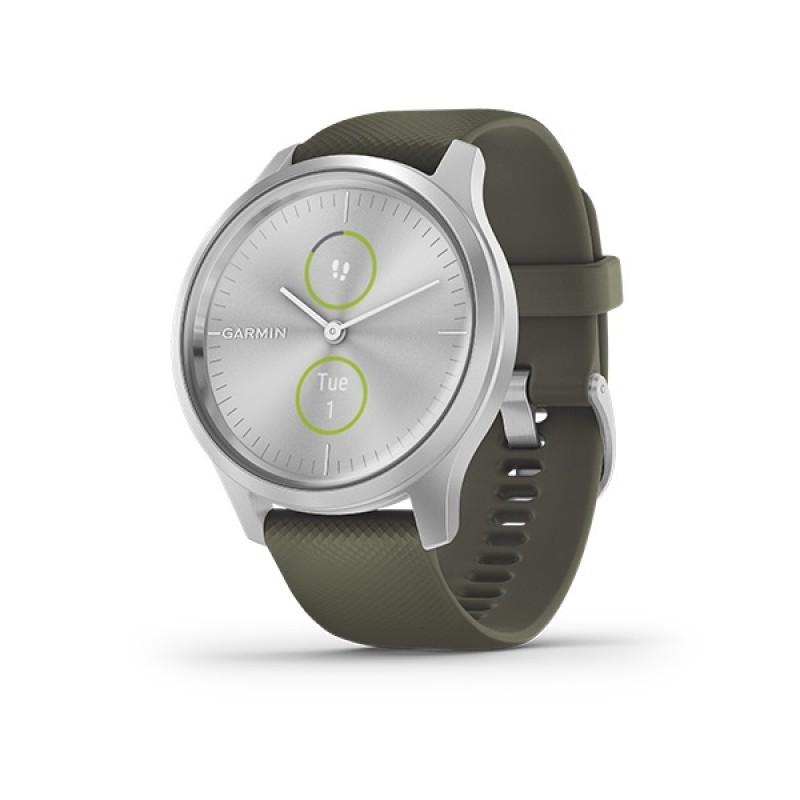 Garmin Vivomove Style Smart Watch Silver With Moss Green