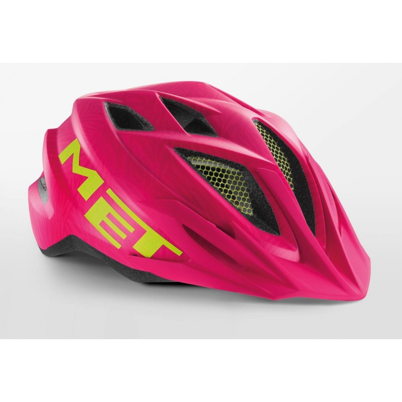 MET Crackerjack Cycling Helmet Pink Texture Green Matt 2019