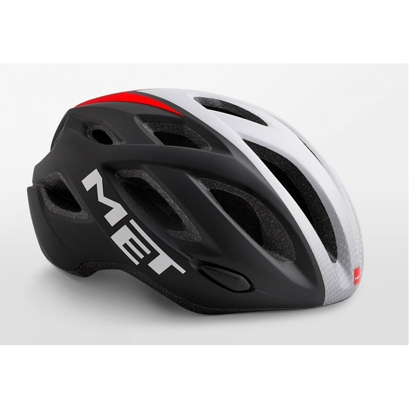 MET Idolo Road Cycling Helmet Black Shaded White Red Matt 2019