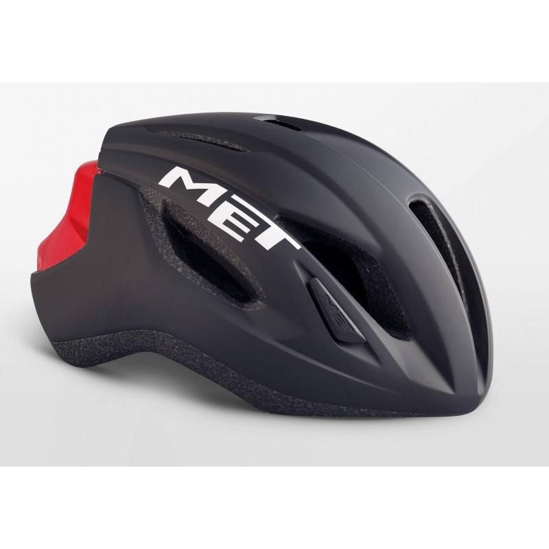 MET Strale Road Cycling Helmet Black Red Matt Glossy 2019