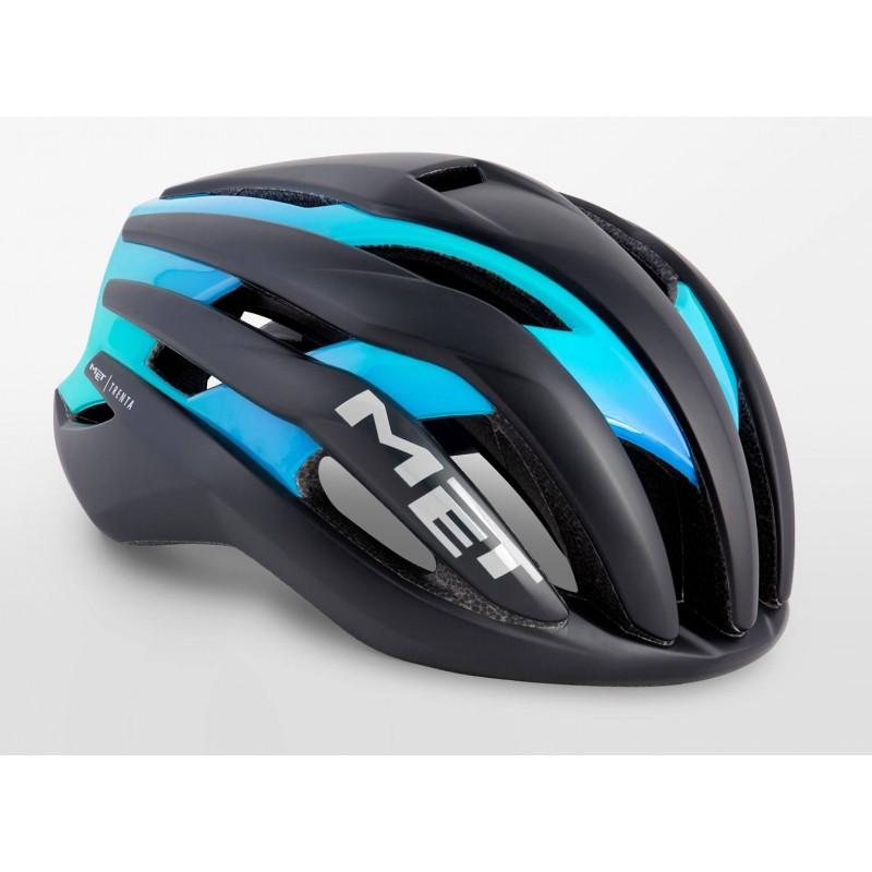MET Trenta Road Cycling Helmet Black Shaded Cyan Matt Glossy 2019