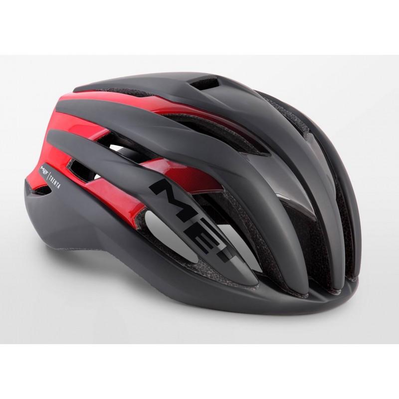 MET Trenta Road Cycling Helmet Black Shaded Red Matt Glossy 2019