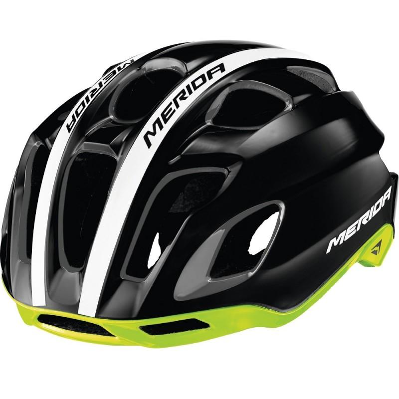 Merida Team Race AR3 Road Bike Helmet Glossy Black-Green