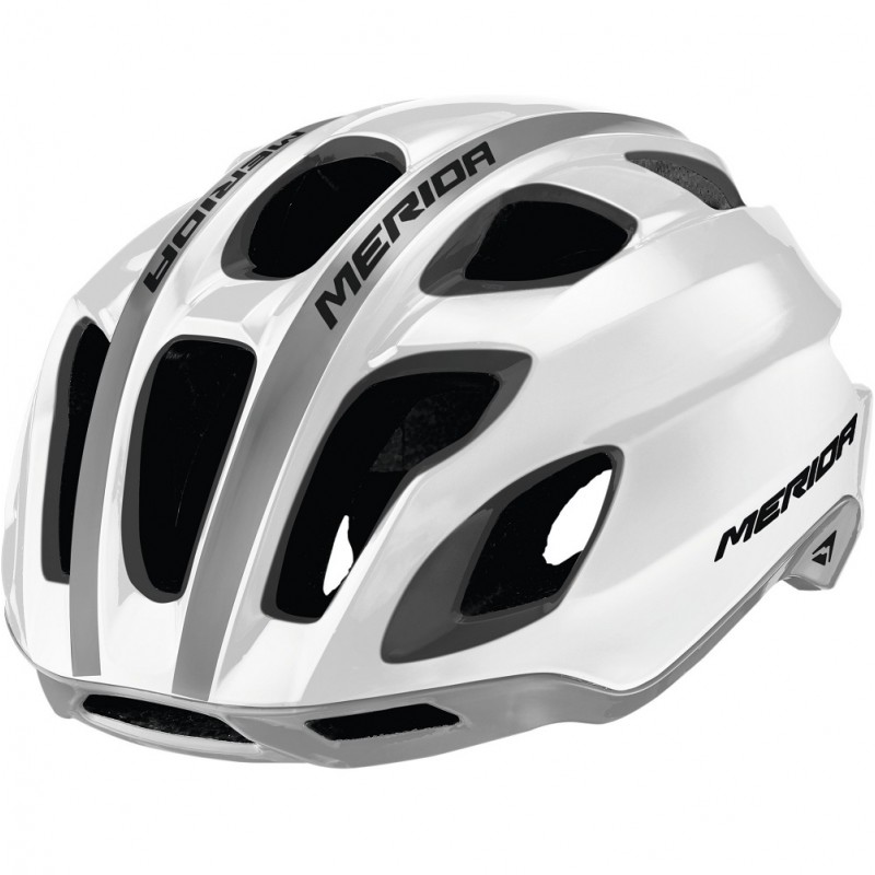 Merida Team Race AR3 Road Bike Helmet Glossy White-Grey