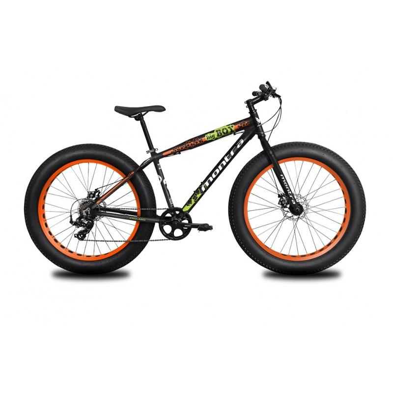 Montra Bigboy 26 Kids Bike 2019 Charcoal Black With Tangerine Orange Graphics
