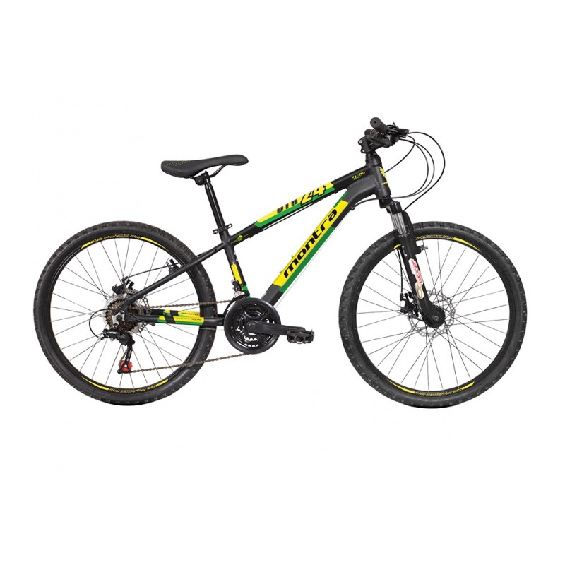 Montra DTR 24 Kids Bike 2018 Matte Black With Yellow/Green Graphics