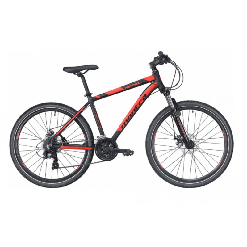 Montra Metal 26 MTB Bike 2019 Carbon Black With Neon Red Graphics