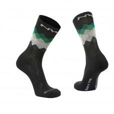 Northwave Core High Socks Black Green Forest