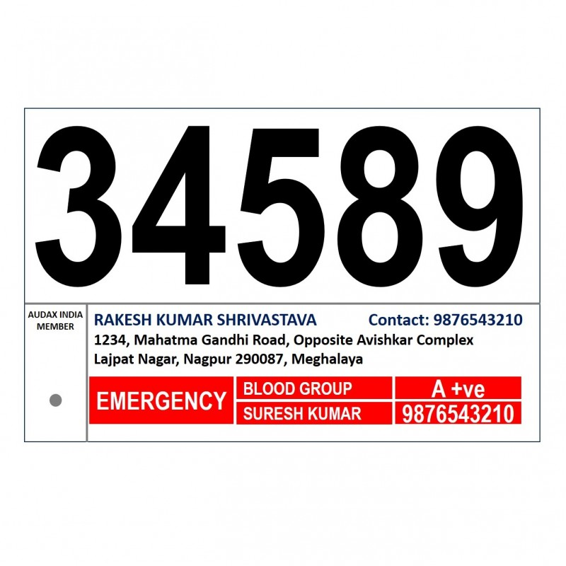 Replacement Card for Audax India Bicycle Number Plate