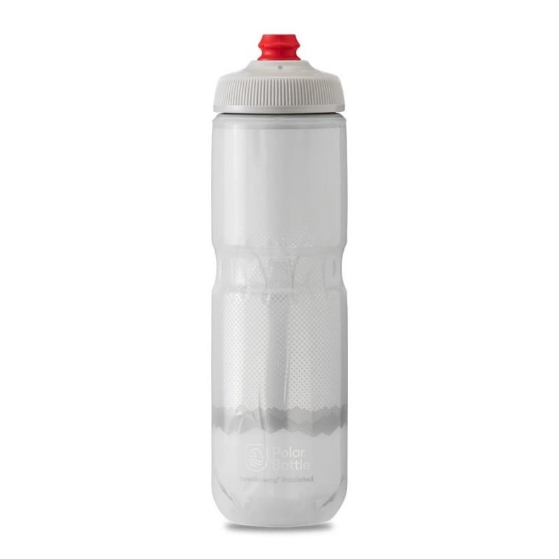 Polar Breakaway Bike Water Bottle Ridge White/Silver Insulated 710ml