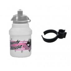 Polisport Speedy Mouse White Pink With Black Holder Water Bottle 300ml