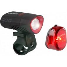Sigma Sport Buster 300 Led USB Front Light Black + Nugget II Flash Led Tail Light (Set)