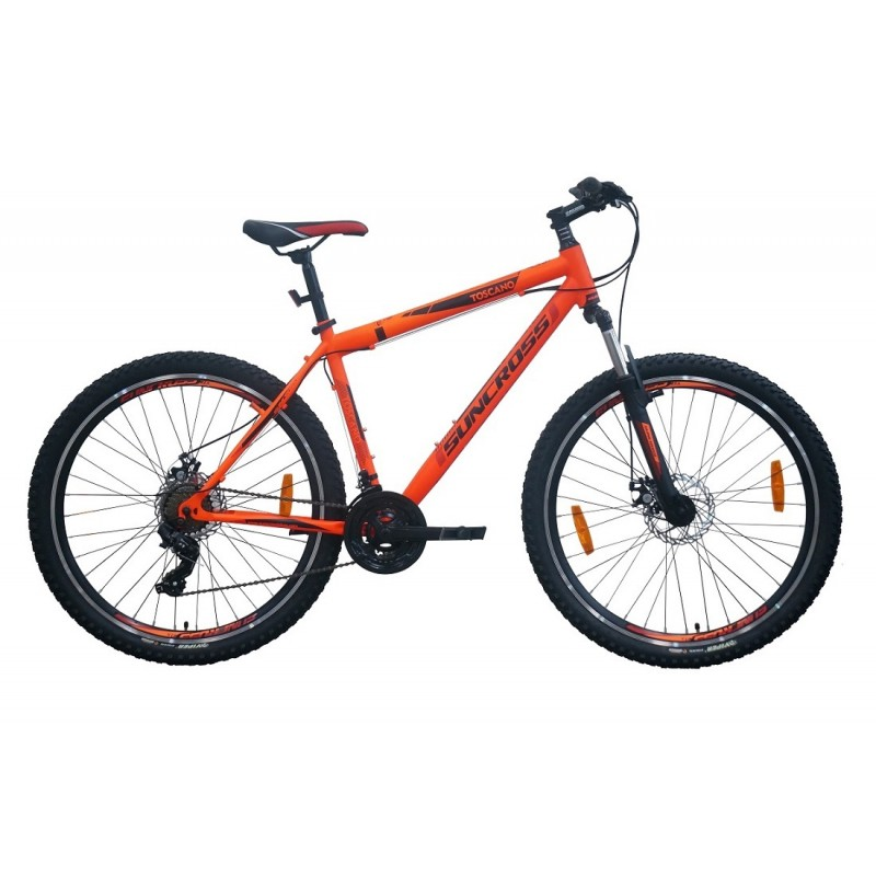 Suncross 27.5x19 Toscano Mountain Bike Black Orange Red Black