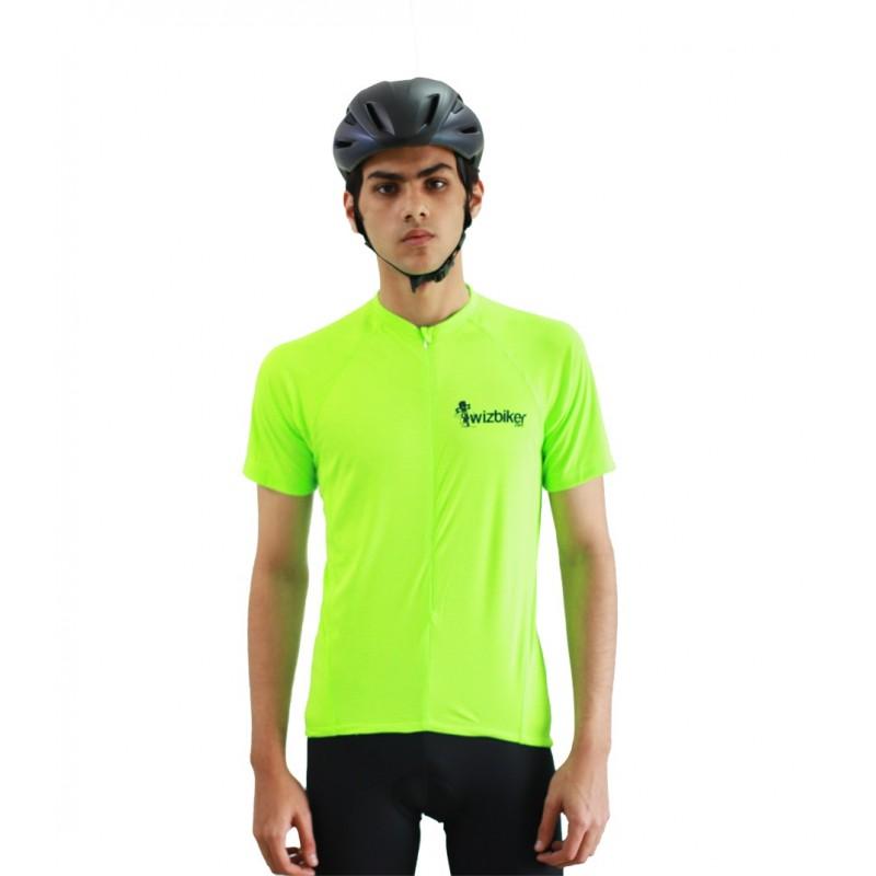 wizbiker Essential Cycling Jersey Neon Green