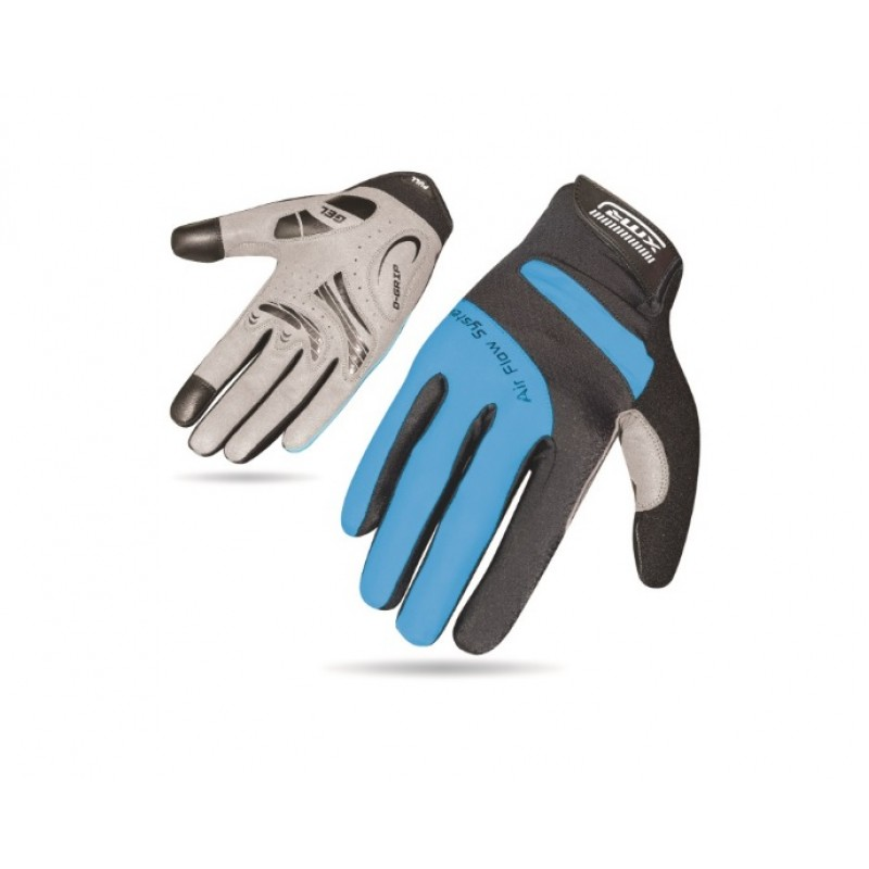 XMR Air Flow Gel Full Finger Hand Gloves Black Blue (AI-03-915)